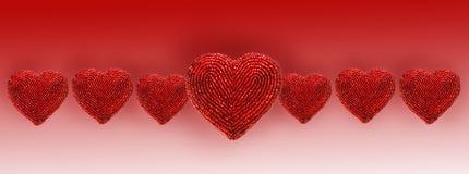 ενάντια στο διακοσμημένο με χάντρες απομονωμένο καρδιές κόκκινο λευκό Στοκ φωτογραφίες με δικαίωμα ελεύθερης χρήσης