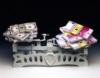 Ενάντιο ευρώ δολαρίων στις κλίμακες Στοκ Εικόνες