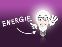 Ενέργεια λαμπτήρων βολβών Energie ανοικτό ροζ Στοκ Φωτογραφία