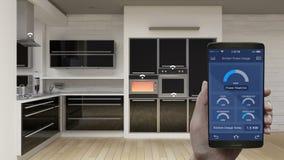 Ενέργεια δωματίων κουζινών - έλεγχος αποδοτικότητας αποταμίευσης στην κινητή εφαρμογή, έξυπνο τηλέφωνο, φούρνος, πλυντήριο πιάτων διανυσματική απεικόνιση