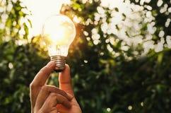 ενέργεια δύναμης στη λάμπα φωτός εκμετάλλευσης φύσης και χεριών με την έννοια Στοκ φωτογραφία με δικαίωμα ελεύθερης χρήσης