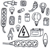 Ενέργεια και ηλεκτρικά εικονίδια Στοκ Εικόνα