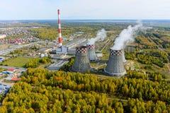 Ενέργεια πόλεων και θερμές εγκαταστάσεις παραγωγής ενέργειας Tyumen Ρωσία Στοκ Εικόνες