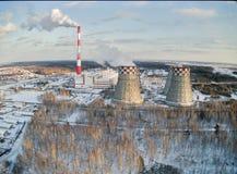 Ενέργεια πόλεων και θερμές εγκαταστάσεις παραγωγής ενέργειας Tyumen Ρωσία Στοκ φωτογραφία με δικαίωμα ελεύθερης χρήσης
