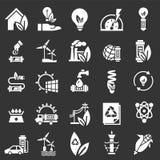 Ενέργεια - σύνολο εικονιδίων αποταμίευσης, απλό ύφος ελεύθερη απεικόνιση δικαιώματος
