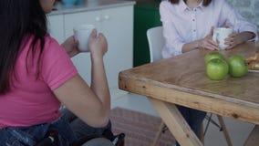Ενήλικη γυναίκα στην αναπηρική καρέκλα καφές κατανάλωσης με το φίλο στο σπίτι απόθεμα βίντεο