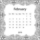 Ενήλικη χρωματίζοντας σελίδα με το μηνιαίο ημερολόγιο του έτους του 2019 που απομονώνεται στο άσπρο πλαίσιο σχεδίων υποβάθρου doo ελεύθερη απεικόνιση δικαιώματος