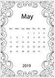 Ενήλικη χρωματίζοντας σελίδα με το μηνιαίο ημερολόγιο του έτους του 2019 που απομονώνεται στο άσπρο πλαίσιο σχεδίων υποβάθρου doo διανυσματική απεικόνιση