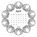 Ενήλικη χρωματίζοντας σελίδα με το μηνιαίο ημερολόγιο του έτους του 2019 που απομονώνεται στο άσπρο πλαίσιο σχεδίων υποβάθρου doo απεικόνιση αποθεμάτων