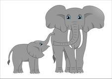 Ενήλικος ελέφαντας και ελέφαντας μωρών ελεύθερη απεικόνιση δικαιώματος