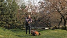 Ενήλικο άτομο με τον ηλεκτρικό χορτοκόπτη, κοπή χορτοταπήτων Κηπουρός που τακτοποιεί έναν κήπο απόθεμα βίντεο