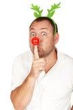Ενήλικο καυκάσιο άτομο με την κόκκινη μύτη Στοκ Φωτογραφία