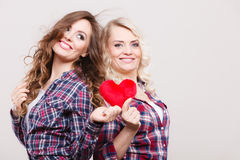 Ενήλικες κόρη και μητέρα με το σημάδι αγάπης καρδιών Στοκ εικόνες με δικαίωμα ελεύθερης χρήσης