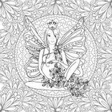 Ενήλικη χρωματίζοντας σελίδα βιβλίων με την έγκυο κυρία νεράιδων Εγκυμοσύνη στην τέχνη ύφους zentangle μαύρο λευκό Στοκ Εικόνα