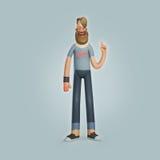 Ενήλικο άτομο γενειάδων χαρακτήρα Hipster που φορά τα τζιν Στοκ Εικόνα