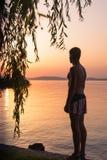 Ενήλικο αρσενικό ηλιοβασίλεμα ανησυχιών στη λίμνη στοκ εικόνες
