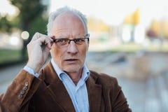 Ενήλικο πρόσωπο με γκρίζο κομψό τρίχας που ντύνεται έξω Στοκ Εικόνες