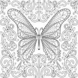 Ενήλικο χρωματίζοντας βιβλίο με την πεταλούδα στις σελίδες λουλουδιών, zentangle β απεικόνιση αποθεμάτων