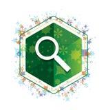 Ενίσχυση - γυαλιού πράσινο hexagon κουμπί σχεδίων εγκαταστάσεων εικονιδίων floral απεικόνιση αποθεμάτων