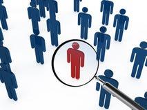 Ενίσχυση - γυαλί που στρέφει το κόκκινο άτομο Στοκ φωτογραφία με δικαίωμα ελεύθερης χρήσης
