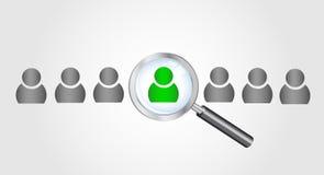Ενίσχυση - γυαλί που ψάχνει τους ανθρώπους. Αναζήτηση εργασίας συμπυκνωμένη Στοκ εικόνες με δικαίωμα ελεύθερης χρήσης