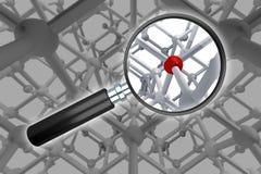 Ενίσχυση - το γυαλί ανιχνεύει μια ανωμαλία μέσα στη μοριακή δομή διανυσματική απεικόνιση