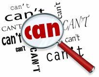 Ενίσχυση - το γυαλί στο Word μπορεί εναντίον. Μην μπορέστε θετική τοποθέτηση Στοκ φωτογραφία με δικαίωμα ελεύθερης χρήσης