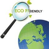 Ενίσχυση - φιλική εξέταση Eco γυαλιού τον κόσμο Στοκ Εικόνα