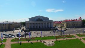 Εναέρια άποψη Άγιος-Πετρούπολη σχετικά με το νησί Vasilevsky απόθεμα βίντεο