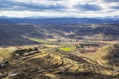 Εναέρια άποψη άποψης από το κάστρο Morella στοκ εικόνες