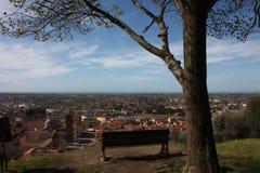 Εναέρια άποψη από έναν λόφο ένα ήρεμο, πράσινο, ήρεμο και ειρηνικό δημόσιο πάρκο ένας απόμερος πάγκος, ένα δέντρο και μια άποψη τ στοκ εικόνα με δικαίωμα ελεύθερης χρήσης