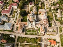 Εναέρια άποψη από τον κηφήνα στο μοναστήρι Jesuits και το σχολή, Kremenets, Ουκρανία στοκ φωτογραφίες