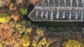 Εναέρια άποψη ενός εγκαταλειμμένου φρουρίου στο δάσος απόθεμα βίντεο