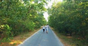 Εναέρια άποψη ζευγών κατά μήκος του δρόμου στο δάσος απόθεμα βίντεο