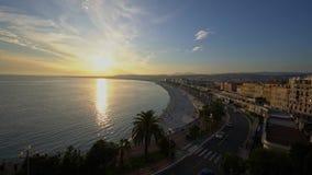 Εναέρια άποψη ηλιοβασιλέματος του κόλπου του διάσημου αγγέλου, Νίκαια απόθεμα βίντεο