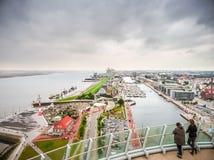 Εναέρια άποψη διάσημου Havenwelten και της χανσεατικής πόλης Bremerhaven, Βρέμη, Γερμανία στοκ εικόνες με δικαίωμα ελεύθερης χρήσης