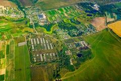Εναέρια άποψη καλλιεργήσιμου εδάφους στο φθινόπωρο Στοκ Φωτογραφία