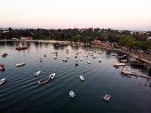 Εναέρια άποψη κηφήνων της παραλίας της Ιστανμπούλ Tuzla στη χρυσή ώρα/την μπλε ώρα Στοκ φωτογραφία με δικαίωμα ελεύθερης χρήσης