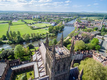Εναέρια άποψη κηφήνων του καθεδρικού ναού του Worcester Στοκ εικόνα με δικαίωμα ελεύθερης χρήσης