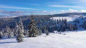 Εναέρια άποψη κηφήνων 4k ενός χιονισμένου θρησκευτικού σταυρού στα βουνά φιλμ μικρού μήκους
