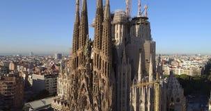 Εναέρια άποψη Λα Sagrada Familia απόθεμα βίντεο