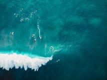 Εναέρια άποψη με τα surfers και κύμα βαρελιών στον τροπικό μπλε ωκεανό Τοπ όψη στοκ φωτογραφίες με δικαίωμα ελεύθερης χρήσης