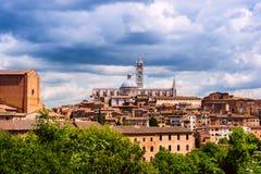 Εναέρια άποψη με το Di Σιένα Duomo Στοκ Εικόνες