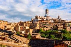 Εναέρια άποψη με το Di Σιένα Duomo Στοκ εικόνα με δικαίωμα ελεύθερης χρήσης