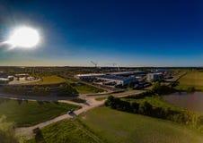 Εναέρια άποψη μιας βιομηχανικής ζώνης πλησίον Herzogenaurach στη Βαυαρία Στοκ φωτογραφίες με δικαίωμα ελεύθερης χρήσης