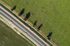 Εναέρια άποψη μιας εθνικής οδού που περνά μέσω των πράσινων τομέων Στοκ Εικόνες