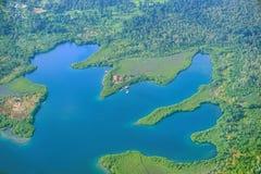 Εναέρια άποψη μιας λιμνοθάλασσας Bocas del Toro Παναμάς Στοκ Φωτογραφίες