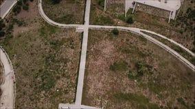 Εναέρια άποψη μιας πόλης, ενός θόλου και ενός τοπίου απόθεμα βίντεο