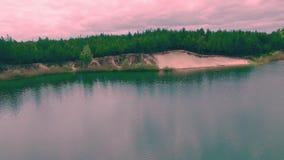 Εναέρια άποψη μιας όμορφης θερινής λίμνης φιλμ μικρού μήκους