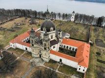 Εναέρια άποψη μοναστηριών Pazaislis σε Kaunas, Λιθουανία στοκ εικόνες